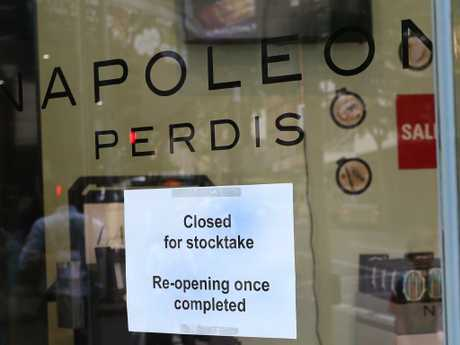 A Napoleon Perdis store in Brisbane closed for stocktake last week as the company's future hangs in the balance. Picture: AAP Image/Richard Waugh