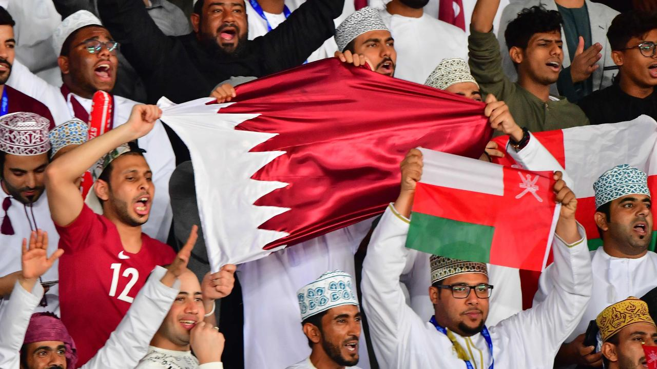 Qatar supporters celebrate the win during the 2019 AFC Asian Cup final