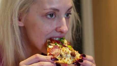 Apparently eating pizza is a shocking activity for a newlywed to engage in. Picture: Channel 9