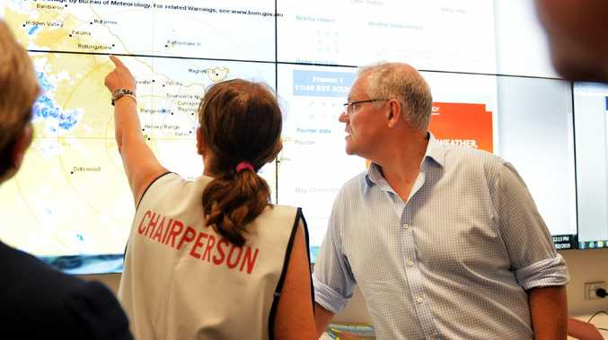 Prime Minister of Australia Scott Morrison visits Townsville Local Disaster Coordination Centre. Picture: Alix Sweeney