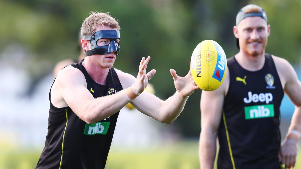 Dylan Grimes is a little nervous to ditch the mask that has become a fixture of his training routine. Picture: Getty Images