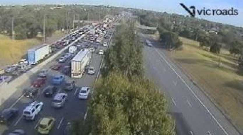 Traffic gridlock near Wellington Road after this morning's horror Monash Freeway crash. Picture: VicTraffic