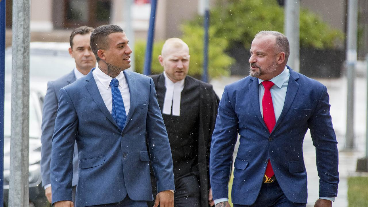 Harley Barbaro arriving at Southport Courthouse with his lawyer Campbell MacCallum today. Picture: Jerad Williams