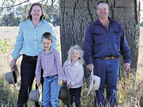 Before his illness with mother Bec, sister Maggie, now seven, and father Craig. Picture: Supplied