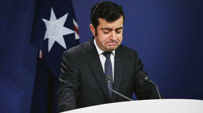 An emotional Mr Dastyari delivers his resignation in 2017.