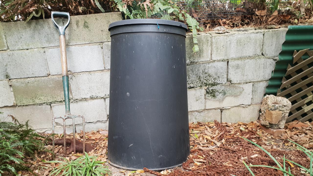 Ms Cowling's garden compost bin. Picture: Ellen-Maree Elliot