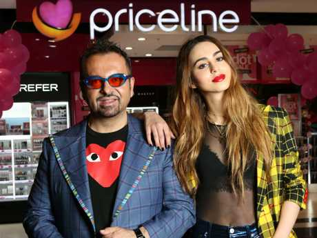 Napoleon Perdis, pictured with his eldest daughter Lianna, outside a Priceline store in Sydney last year. Picture: James Croucher