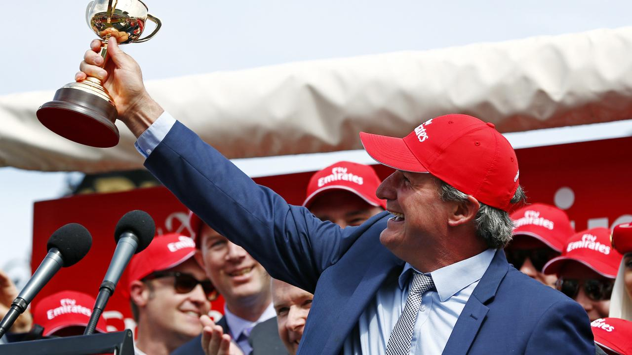 Darren Weir celebrates his Melbourne Cup win in 2015. Picture: Colleen Petch