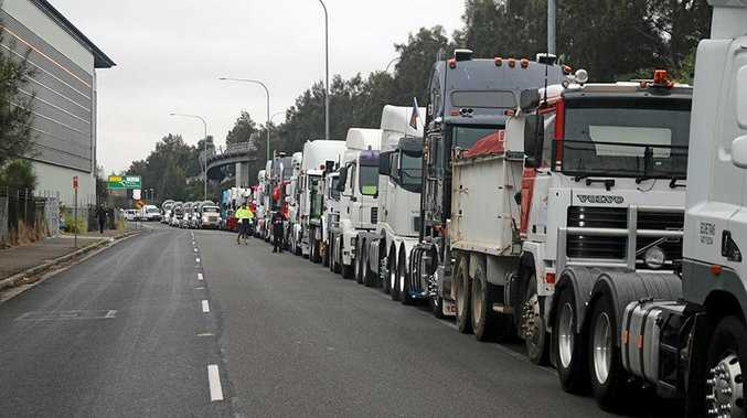 UNITED: A previous TWU convoy saw 240 drivers take to the streets to oppose Turnbull's approach to helping truckies.