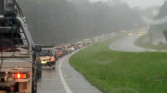 GRIDLOCKL Traffic is backed up on the Bruce Highway after a rollover at Yandina.