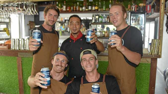 TRY IT OUT: Mr Drifter owner Charlie Harrison (left), chef Nestor Galapia, Jack Raymond, Joe McDonald and Lachie Lalor are part of the team at Noosa's newest restaurant.
