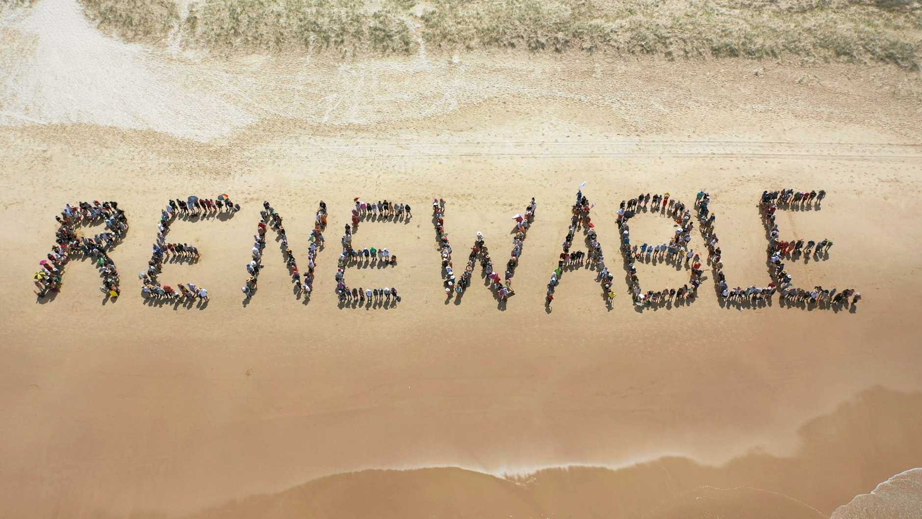 The sign on Peregian Beach made by about 1000 people as a call-to-arms statement about climate change.