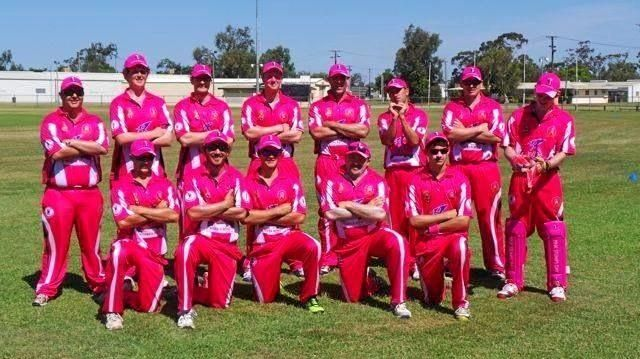 TICKLED PINK: Emerald Brothers Cricket Club's senior team at a previous Pink Stumps Day.