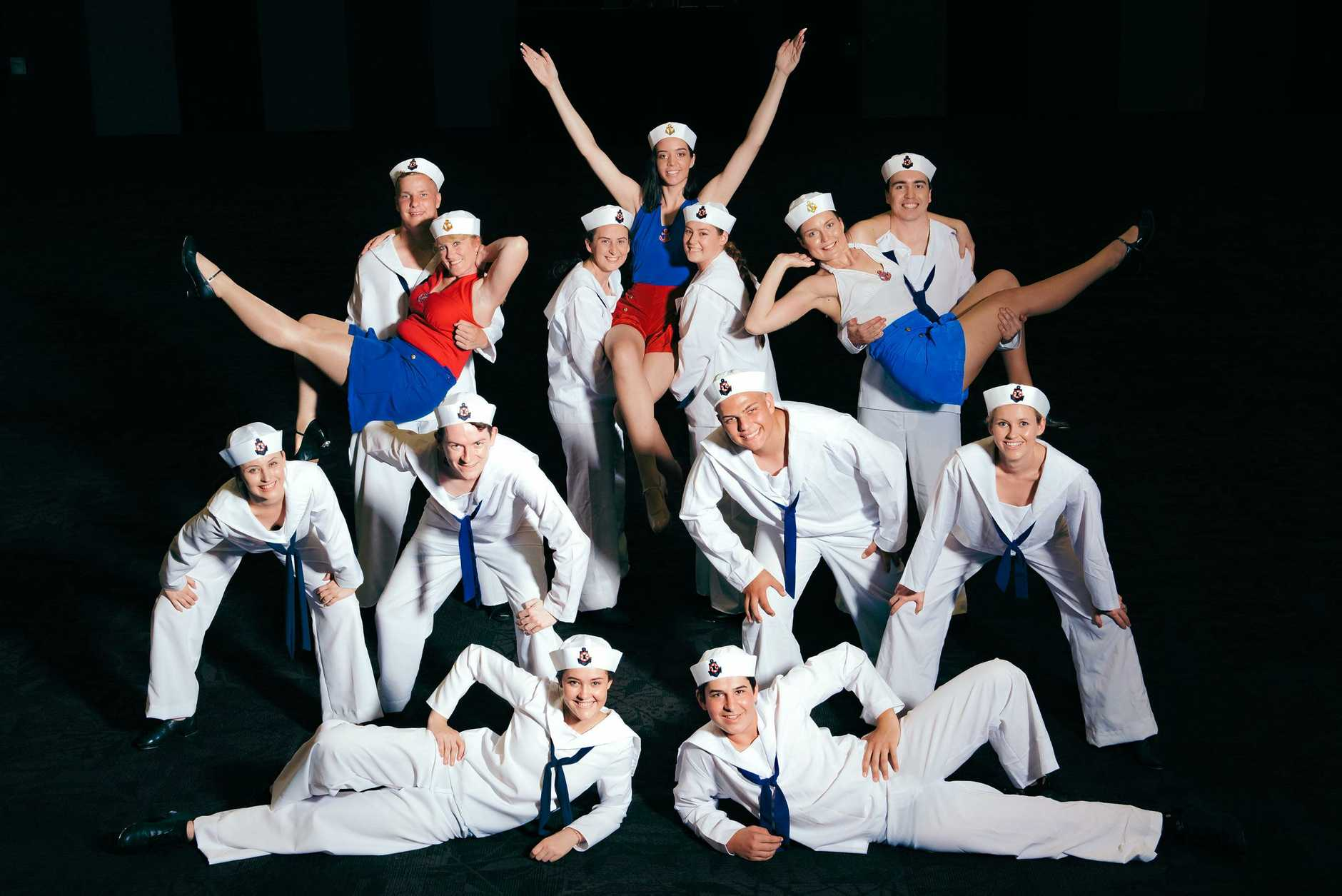 ALL ABOARD: Some of the cast from the community musical Anything Goes which is playing at the GECC from February 21 to 24.