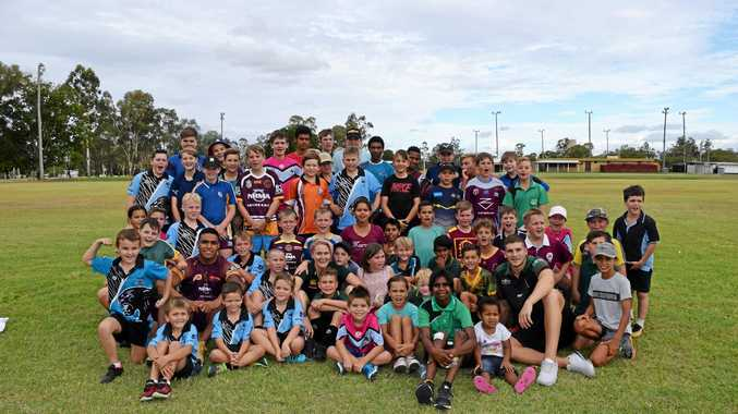 BIG DAY: The Biloela Junior Rugby League Panther Cubs were treated to a special sign on day with coaching sessions by local Gladstone player Chelsea Baker and NRL stars Joe Ofahengaue and Adam Doueihi.