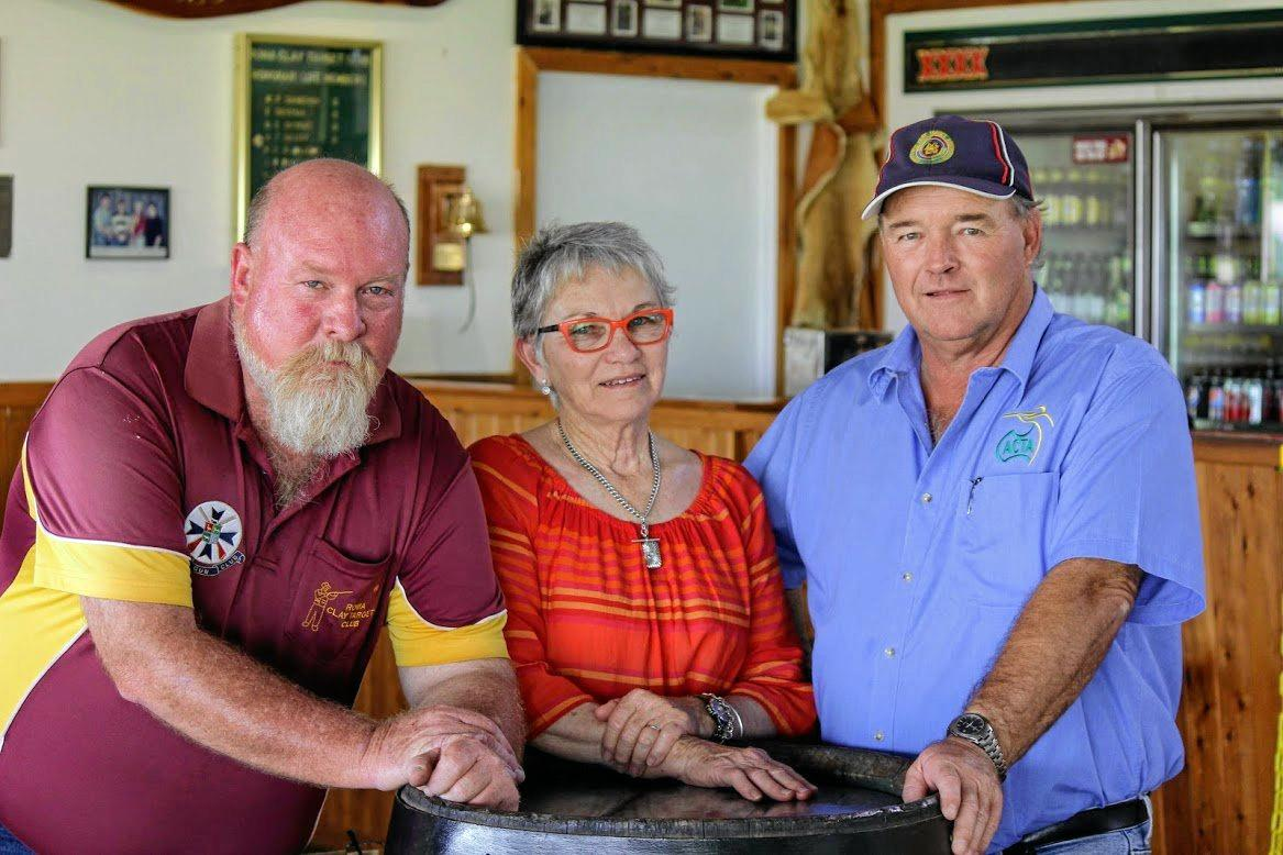 MEMORIAL DAY: Roma Gun Club president Andrew Whyte, Betty Bryant and Robert Nugent.