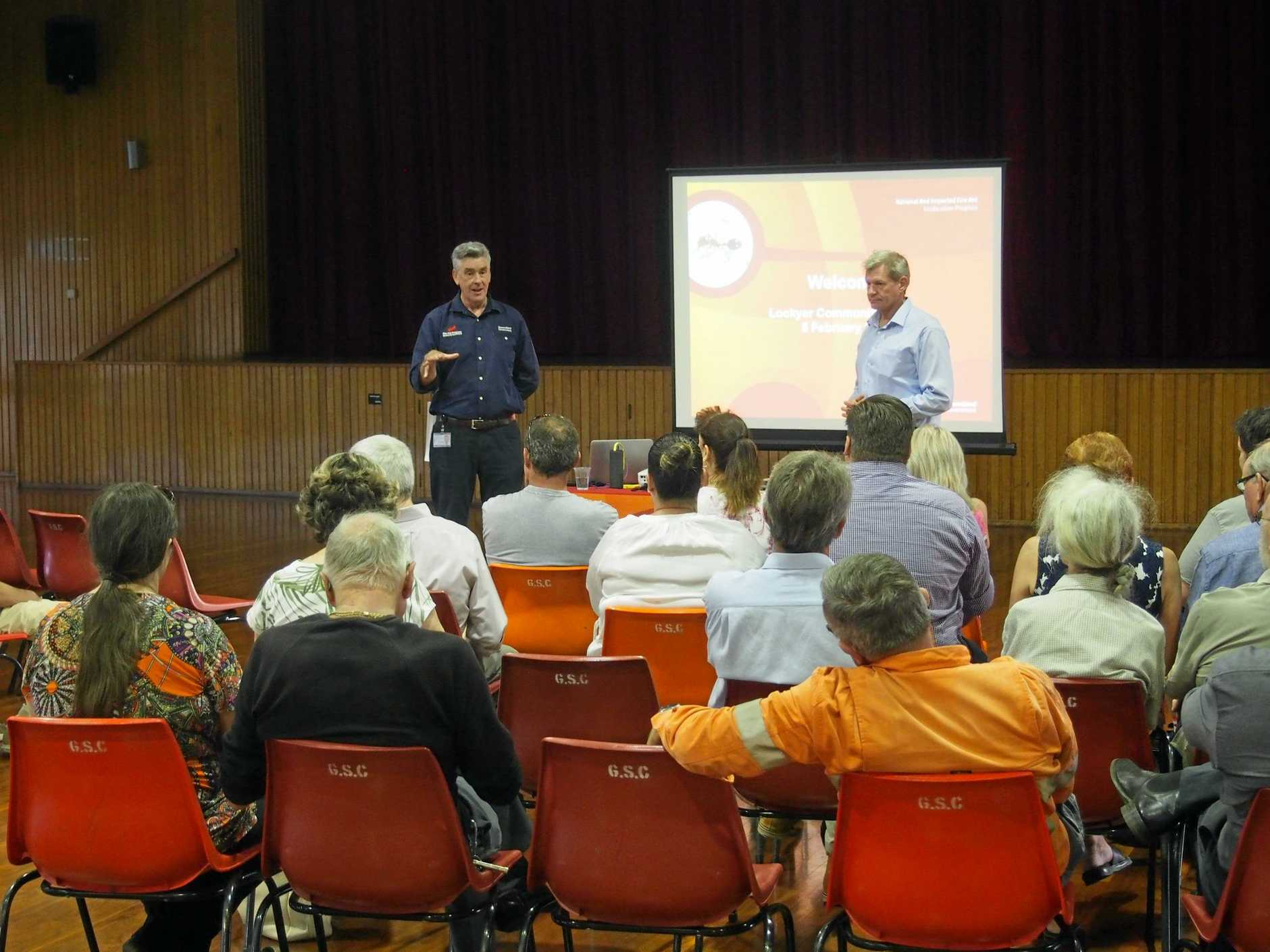 CONTROVERSIAL: Biosecurity Queensland representatives and Member for Lockyer Jim McDonald hosted a Fire Ant Eradication Program info session for the Lockyer Valley community in Gatton this week.