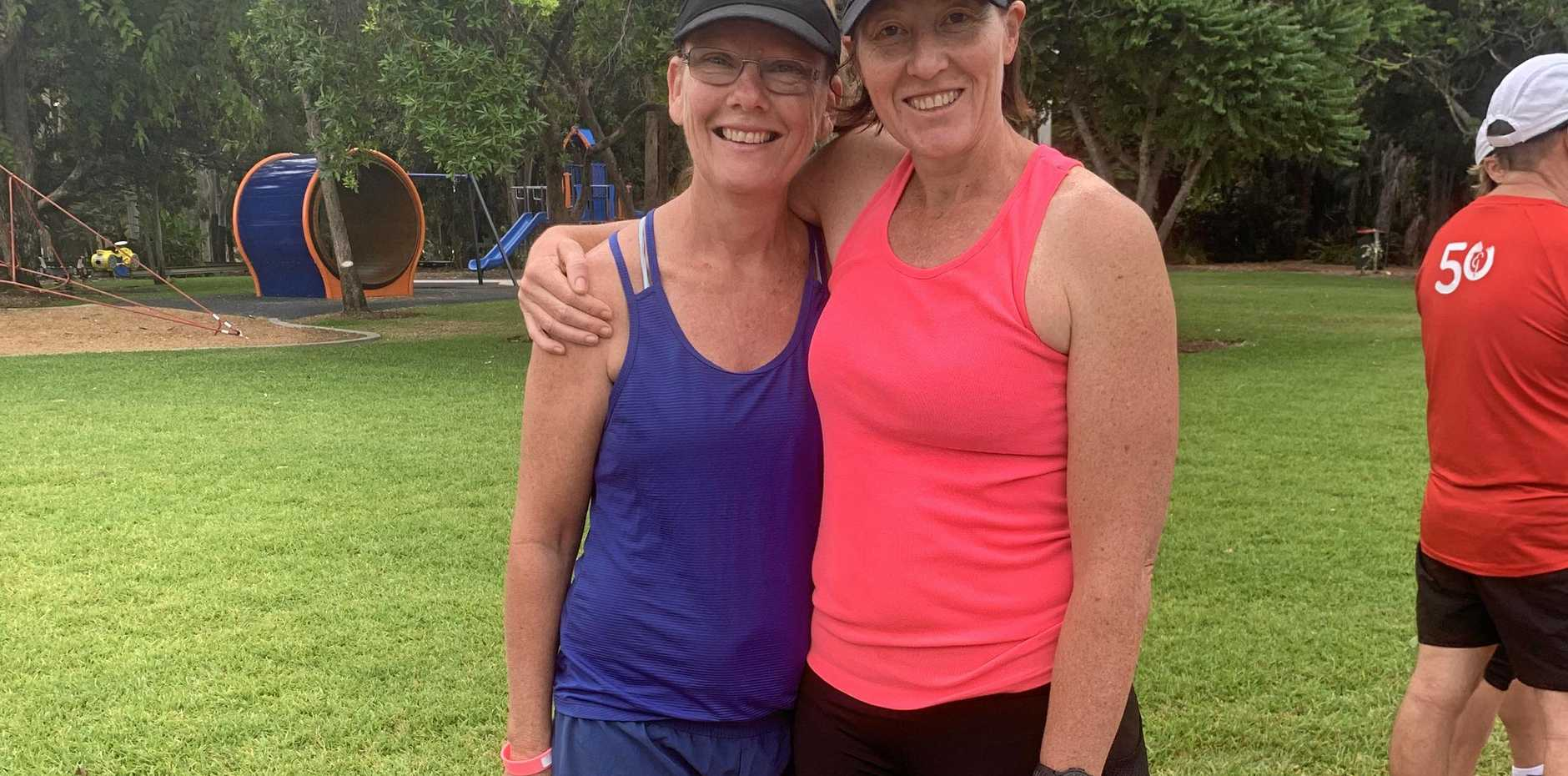 FOR COMMUNITY: Madonna Drummond and Jen Bennett at Emerald's weekly parkrun.