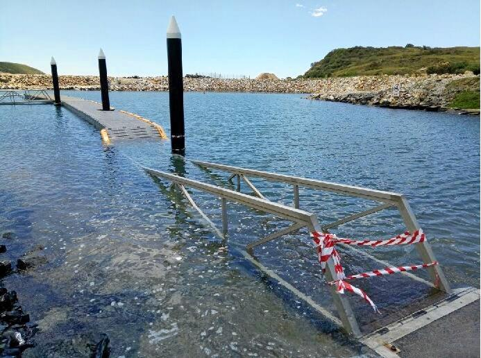 The pontoon at the Coffs Harbour boat ramp after a king tide.