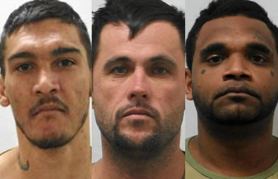 CAUGHT:  Beaudesert man Jacob Allen (left) Craig Jackson and Claude Cobbo escaped Townsville Farm prison on December 30. They were captured 1200 kilometres away near Gympie on New Year's Eve.