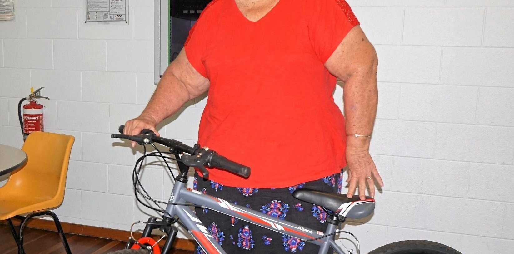 WINNER: Lyn Day of Koumala won a bike at a recent cent sale held in Sarina.