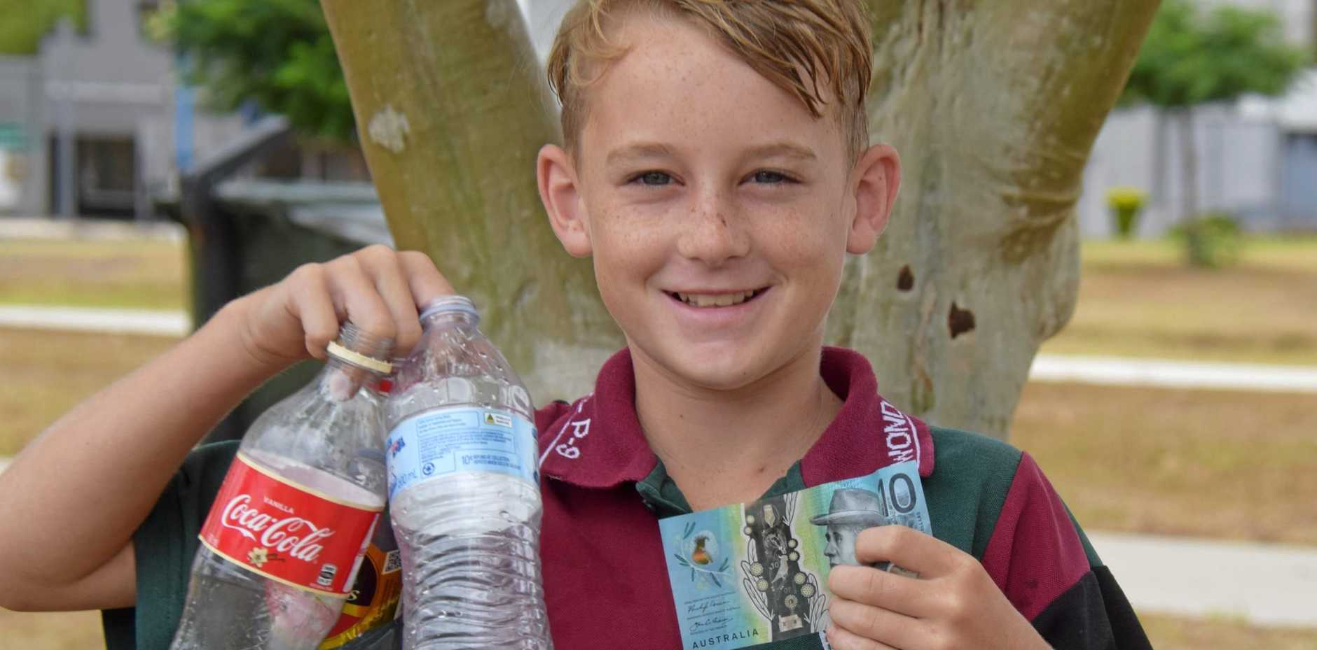 BOTTLED UP: 12-year-old Dominic Law has made nearly $600 in only a few months collecting recyclable bottles.
