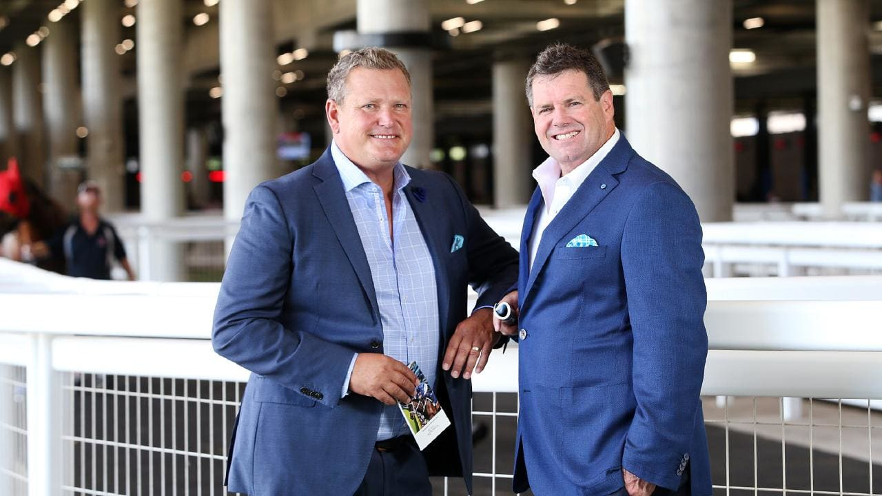 Tim Gilbert and Peter Gleeson, pictured together at Royal Randwick, ahead of the launch of their new TV show Racing Dreams. Picture: Richard Dobson
