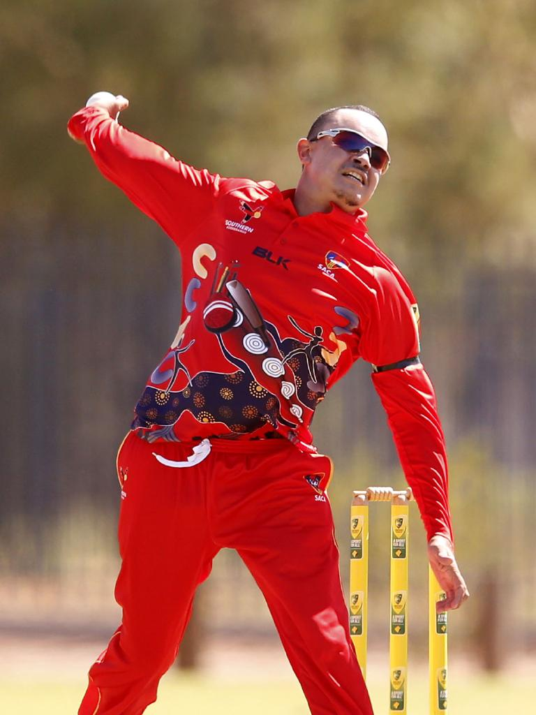 ALL-ROUNDER: South Australia captain Marcus McGregor-Cassady, competing at the 2019 National Indigenous Cricket Championships in Alice Springs, has combined his love of cricket, pride in his culture and art in a design for D'Arcy Short's bat. Picture: DARRIAN TRAYNOR – CRICKET AUSTRALIA/GETTY IMAGES