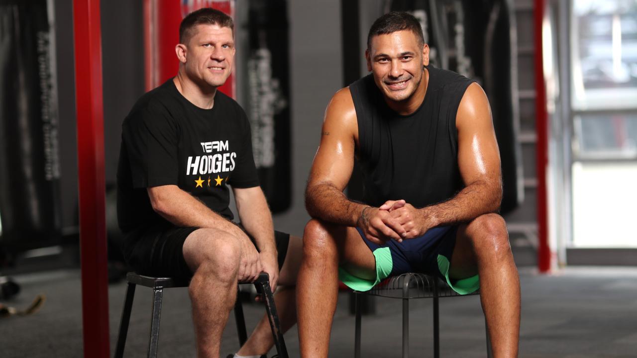 Justin Hodges with his trainer Gareth Williams.
