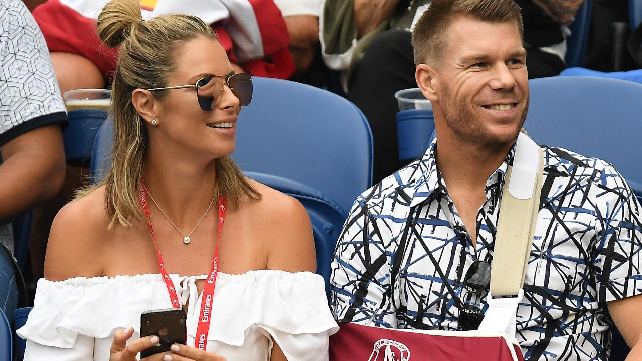 Australian cricketer David Warner (R) is recovering from recent surgery on his elbow. Picture: AAP