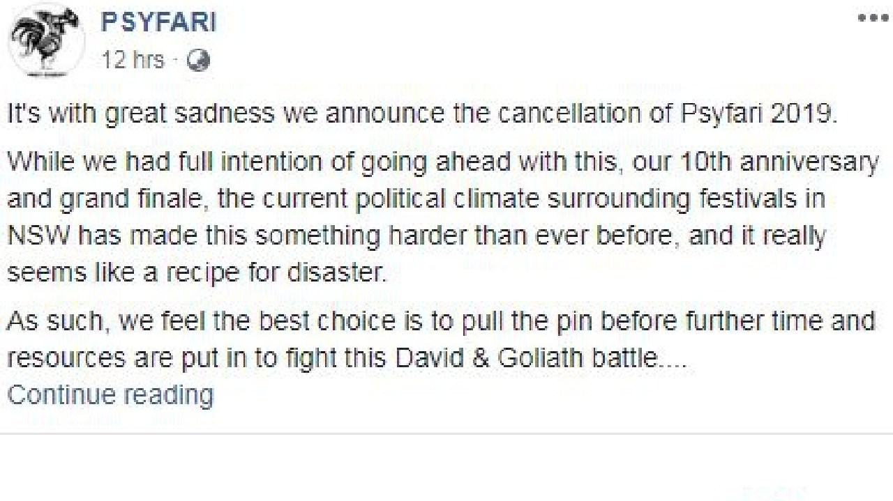 Organisers announced the cancellation in a lengthy Facebook post. Picture: Facebook