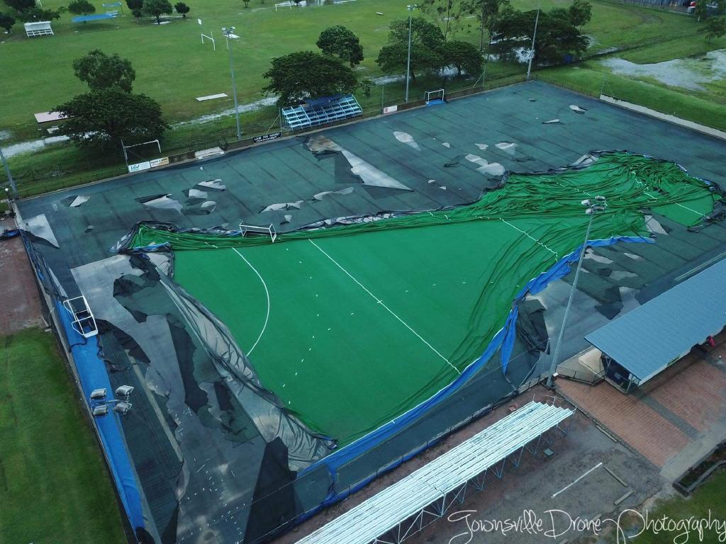 The Townsville hockey field has been destroyed. Picture: Townsville Drone Photography