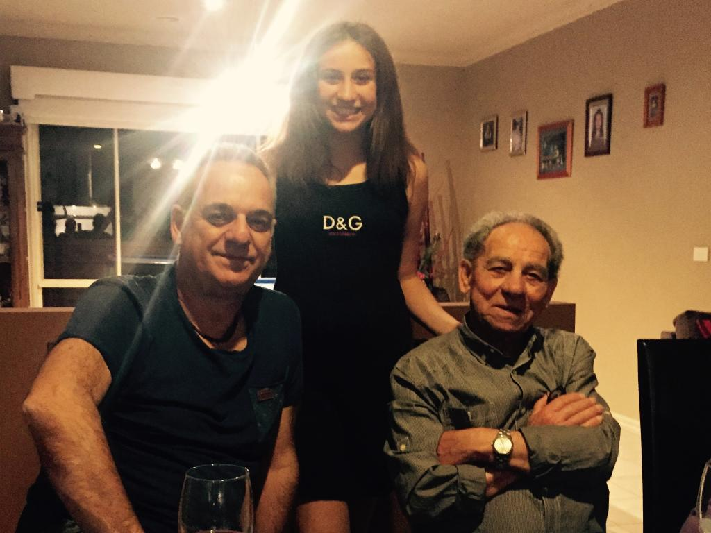 Tullio Farella with his son-in-law Robert and granddaughter Alysha.