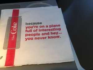 Passengers baffled by 'creepy' napkins