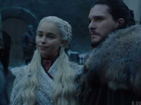 Season 8 footage shows Daenerys and Jon meeting Sansa. Picture: HBO