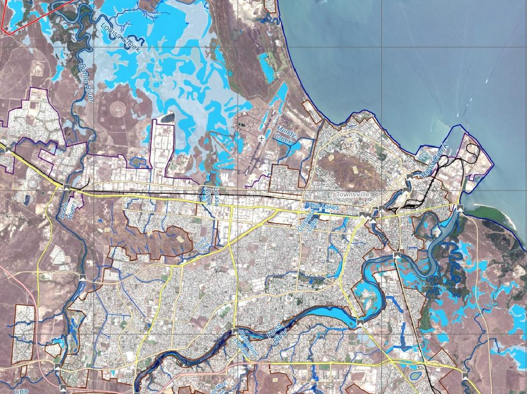 The flood map of Townsville this week.