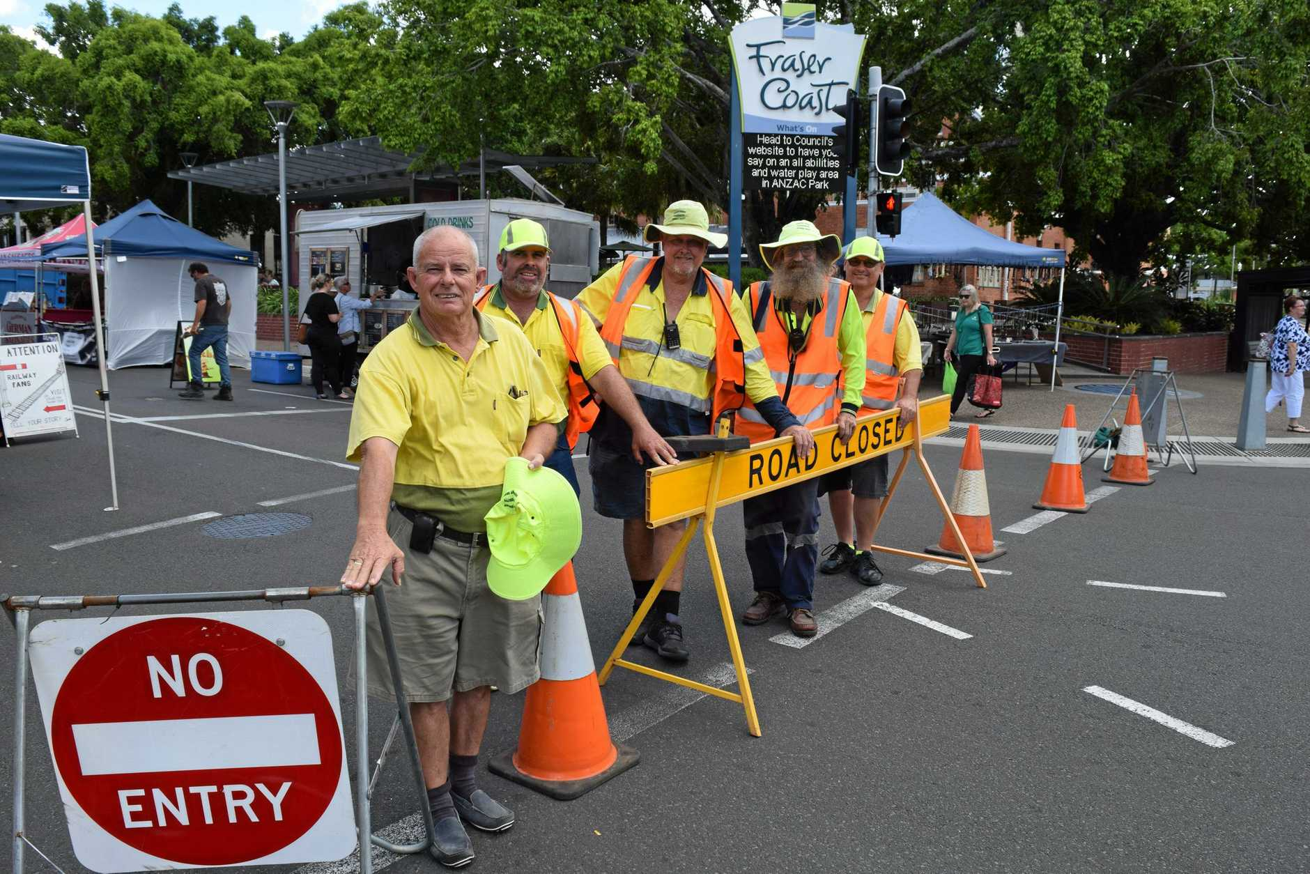 KEEPING US SAFE: Fraser Coast Community Support Group president Barry Stevens (left) with members (from left) Scott Robinson, Bob Shields (treasurer), Ray Stockdale and Troy Gerry keep the traffic flowing during events in the region.