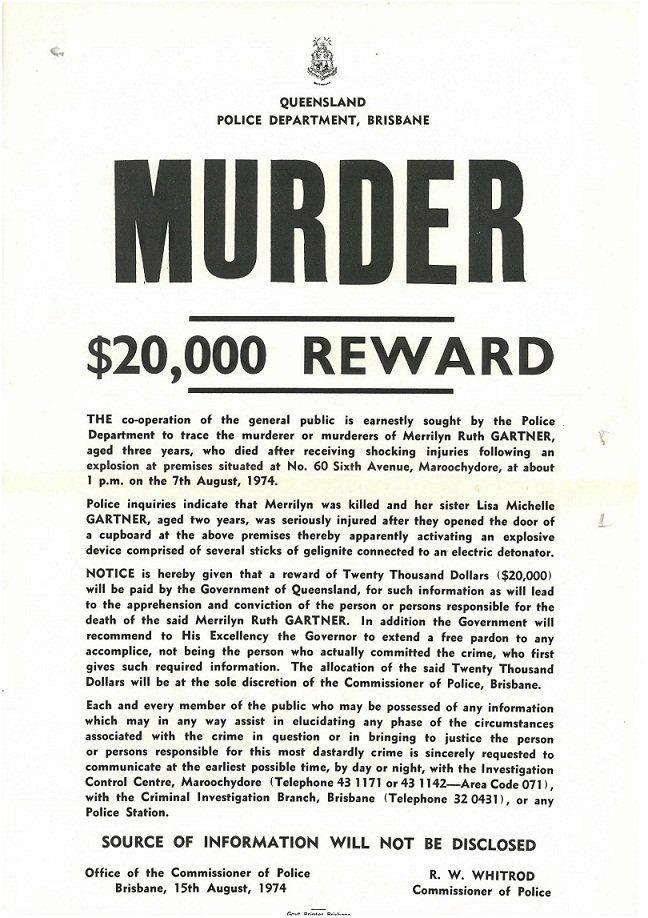 REWARD: A $20,000 reward was offered early in the investigation, sparking a flood of information.