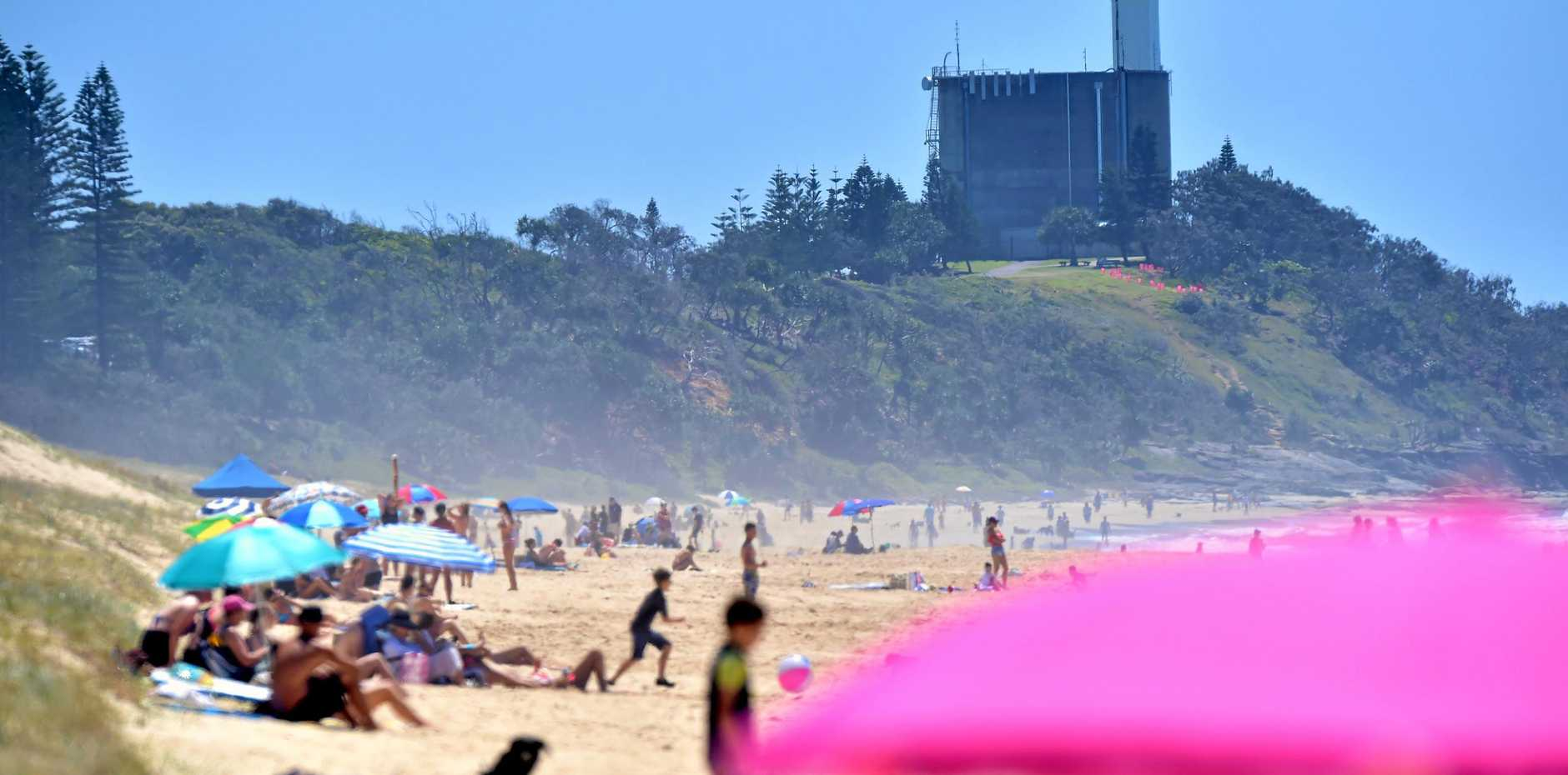 A man was taken to hospital last night after he nearly drowning at Buddina beach.