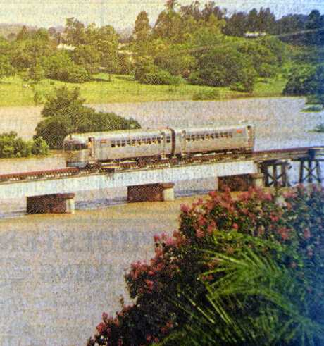1999 FLOOD: The Mary Valley Heritage Railway's rail motor provided a vital link between Gympie and Monkland during the February flood, ferring workers back and forth across the high level Deep Creek rail bridge.
