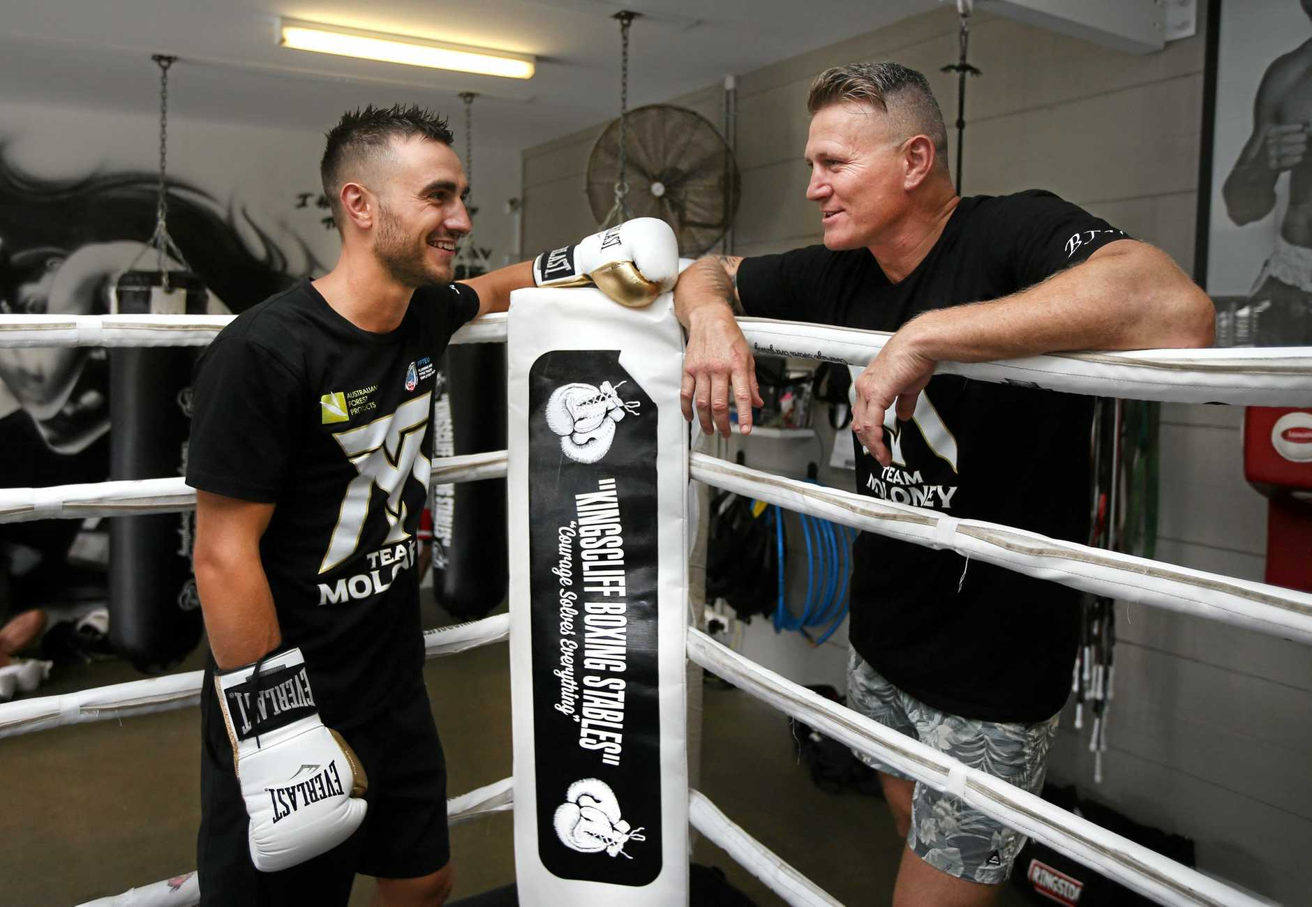 Kingscliff Boxing Stables Boxer Jason Moloney with World Champion Danny Green