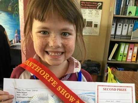 Billie Wilson won second place in the school art at the Stanthorpe Show last weekend. Against fierce competition, she won a ribbon, certificate and money with her Mother Nature poster. Well done Billie