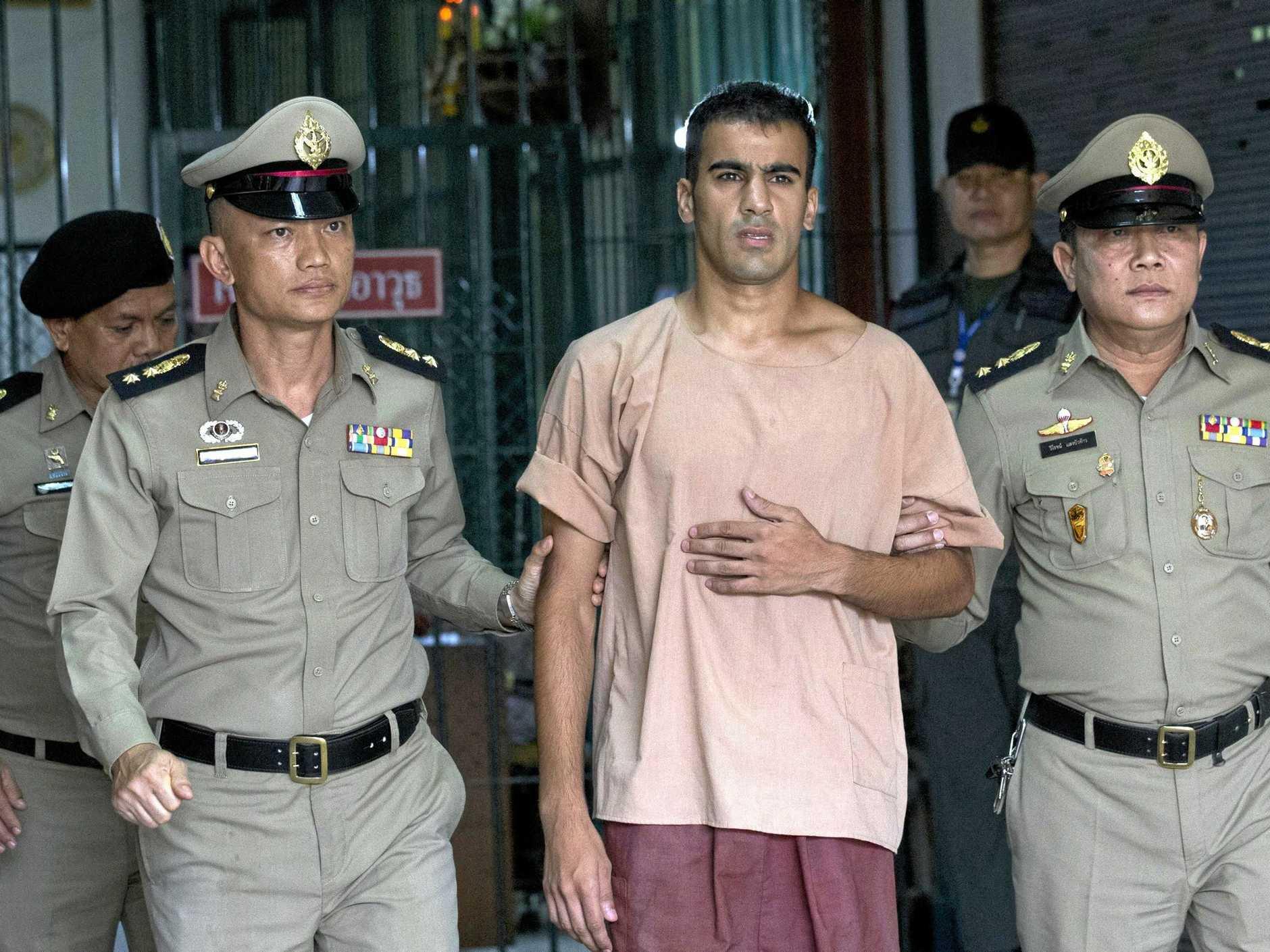 Hakeem al-Araibi leaves court in Bangkok. (AP Photo/Sakchai Lalit)