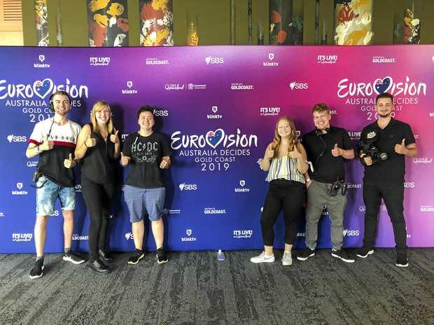 FANTASTIC OPPORTUNITY: USQ students Riley Wilton, Jasmin Brough, Tash Rossetto, Gabrielle Pratt, Hayden Howett and Adam Sekli are on the Gold Coast preparing for the live telecast of Eurovision - Australia Decides.