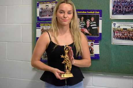 The runner up for Best and Fairest went to Sophie Jones at the Gympie Cats presentation night.