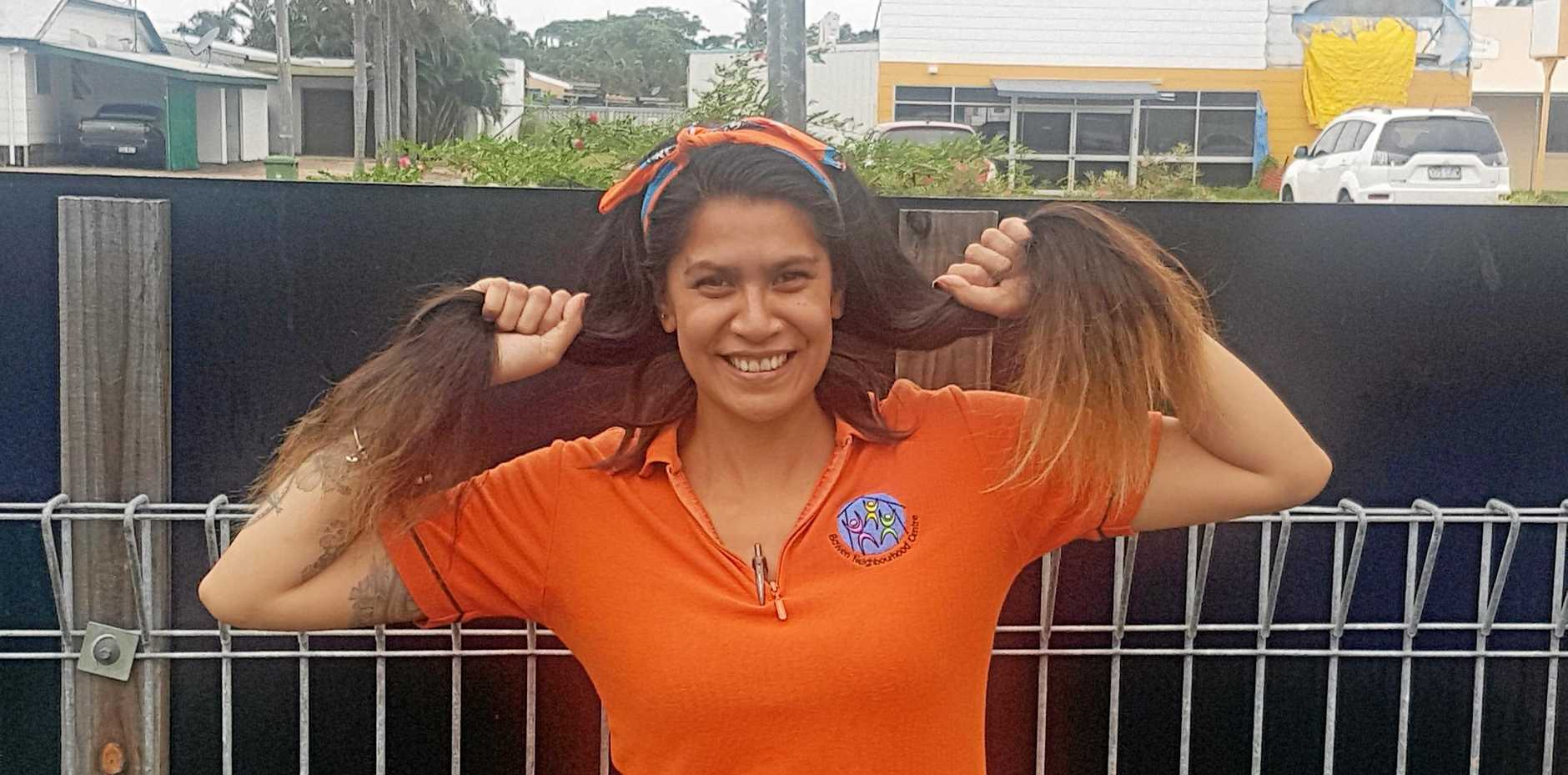 Bowen Neighbourhood Centre worker Crystal Maaka will shave her head for the World's Greatest Shave in May.