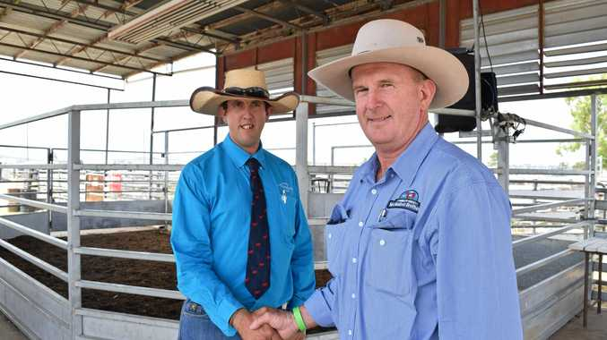 GRAND VICTORY: Allora Show prime cattle judge Tim Eastwell with Damien McMahon. Mr McMahon won the grand champion beast exhibit.