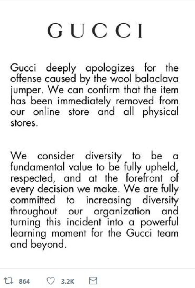 The Italian luxury brand issued this statement to its Twitter page.