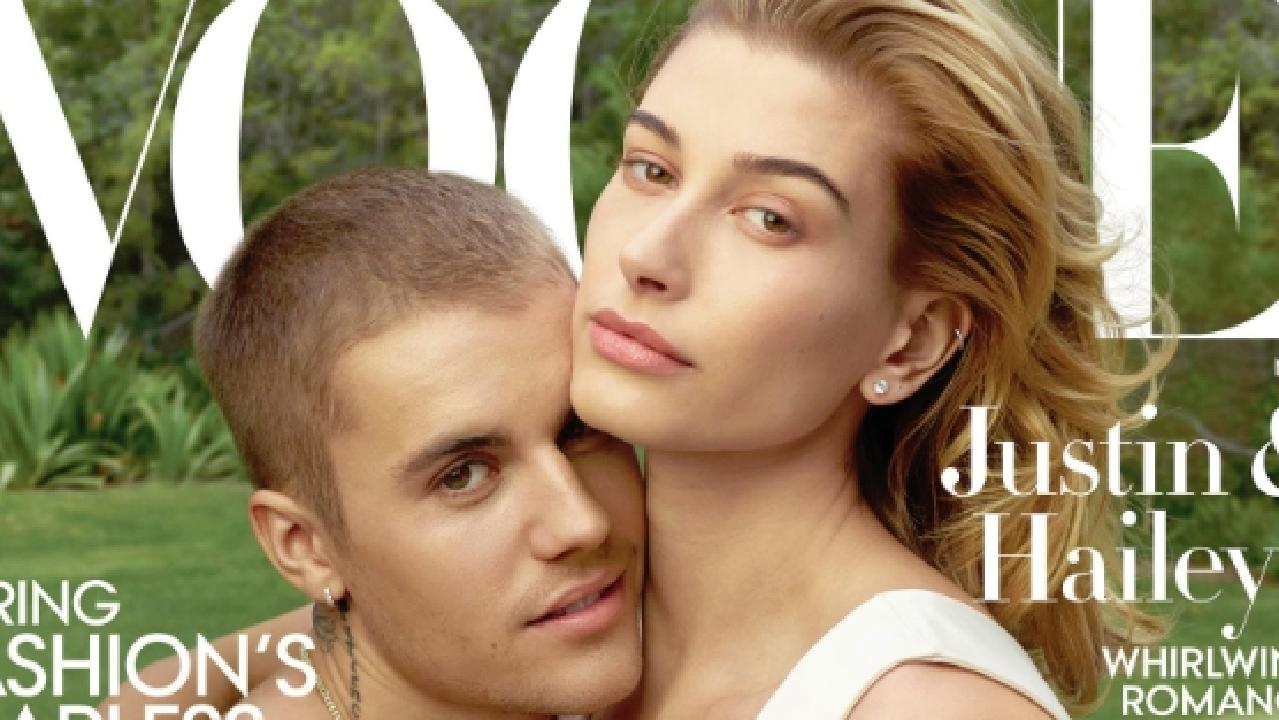 Justin Bieber and Hailey Baldwin on the cover of US Vogue. Picture: Twitter