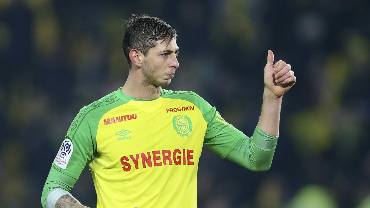 Taken too soon: Emiliano Sala gives the thumbs up to fans while playing for Nantes. Picture: AP